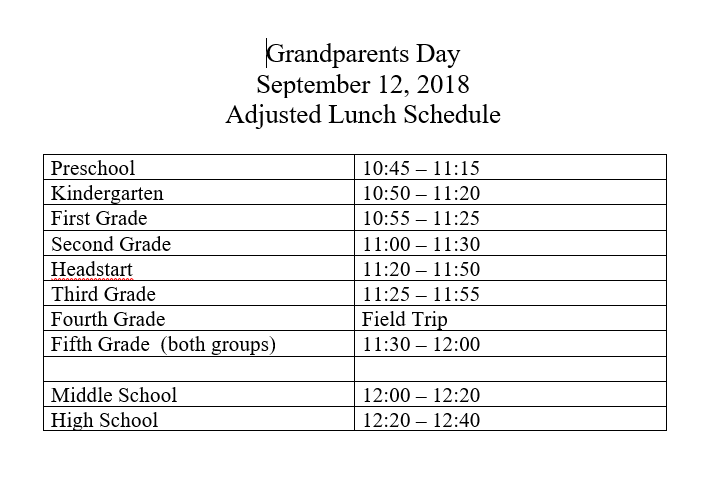 Grandparent's Day Lunch Schedule